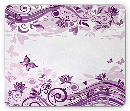 Preisvergleich Produktbild Mauve Mouse Pad,  Vintage Style Floral Violet Branches and Swirls Valentine's Day Themed Romance Design,  Standard Size Rectangle Non-Slip Rubber Mousepad,  Lilac