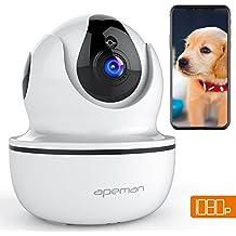APEMAN 1080P Cámara IP WIFI, Cámara de Vigilancia con Visión Nocturna, Audio de 2 Vías, Detector de Movimiento Pan/Tilt, Grabador de Vídeo y Audio, P2P/Ovnif/2.4GHz, Compatible con iOS/Android