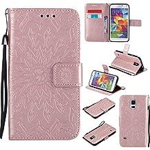 Funda Samsung Galaxy S5 Wanxida Carcasa de Girasol de Impresión en Relieve Funda de PU Cuero Suave Carcasa Cartera con Cierre Magnético y Ranura Para Tarjetas Carcasa de Estilo Libro Delgado plegable Funda Protectora Caja de Función Soporte Para el Samsung Galaxy S5- Oro rosa