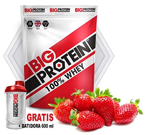 Proteína en polvo 100% whey, suplemento deportivo perfecto para aumentar masa muscular. Batido de proteína aislada de suero para ganar músculo. Ideal en entrenamientos de musculación (Fresa)