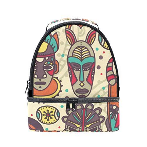 Bolsa de almuerzo doble para el hombro, estilo vintage, máscara tribal colorida,...