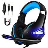 DeepDream Stereo Gaming Headset GM-5 mit Noise Cancelling-Mikrofon, LED-Licht, Lautstärkeregler - Kompatibel mit Nintendo Switch, Xbox One, Playstation 4 und PC