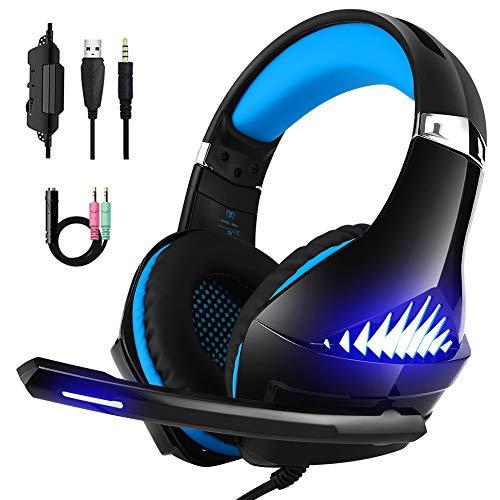 DeepDream Gaming Headset für PS4 PC Xbox One,Stereo-Noise Cancelling Bass Surround Gaming Kopfhörer mit Mikrofon, LED-Licht und Lautstärkeregler für Mac NS PSP Tablet