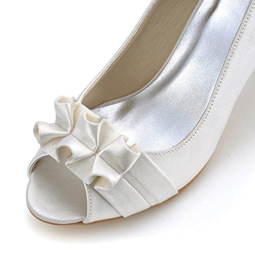 ElegantPark EP2118-PF Donna Satin Open Toe Sandali Con Plateau Strass Tacco Alto Partito Scarpe Da Sera Avorio