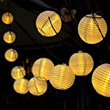 Gresonic 20er LED Lichterkette Lampion/Laternen Deko für Garten Weihnachten Party Hochzeit Innen und Außen mit dem Stecker (Warmweiss, Netzanschluss)