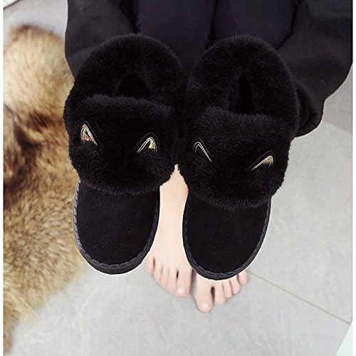 HSXZ Scarpe donna Cashmere Winter Snow Boots stivali tacco basso Round Toe stivali Mid-Calf giù per Nero Casual Black
