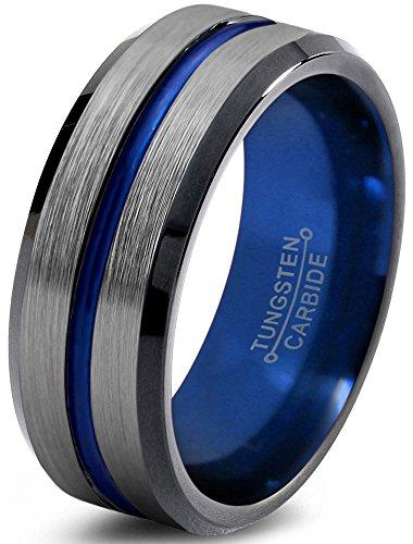 Tungsten Wedding Band Ring 8mm for Men Women Blue Black Grey Grey Beveled Edge Brushed Polished Size 53 (16.9) -
