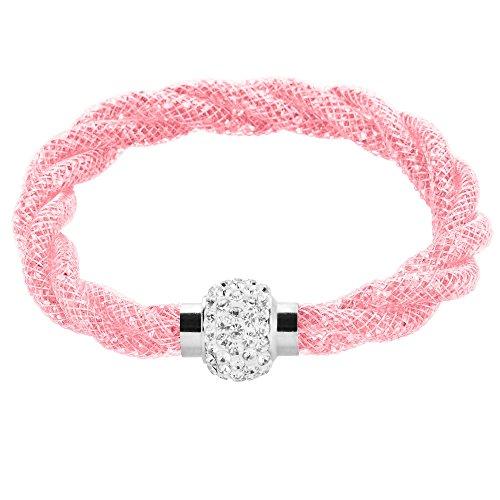 Mianova Damen Stardust Schlauch Armband Armreif Netzschlauch Nylon mit Strass Steinen Kristallen Shamballa Kugel Silber Altrosa