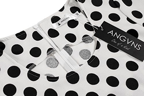 Damen Polka Dots Kleid Pencil Bleistift Kleid Cocktail Abendkleid knielang Ärmel - 4