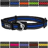 DDOXX Hundehalsband Reflektierend Air Mesh | für große & Kleine Hunde | Katzenhalsband | Halsband | Halsbänder | Hundehalsbänder | Hund Katze Katzen Welpe Welpen | klein breit bunt | Blau, M