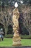 Statue mit Kind und Beleuchtung, H 245, Steinfigur, Gartenfigur Farbe hellgrau