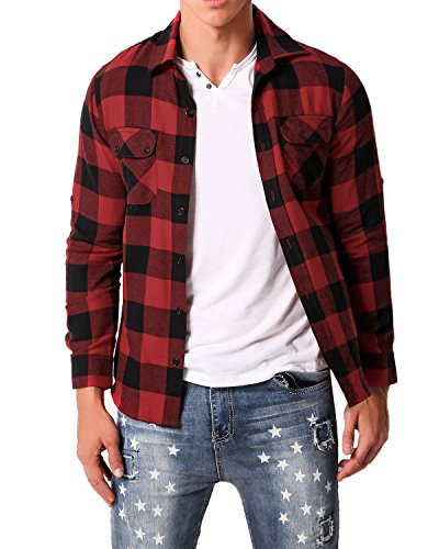MODCHOK Men's Plaid Shirt Check Flannel Shirt Causal Long Sleeve Lumberjack Tops