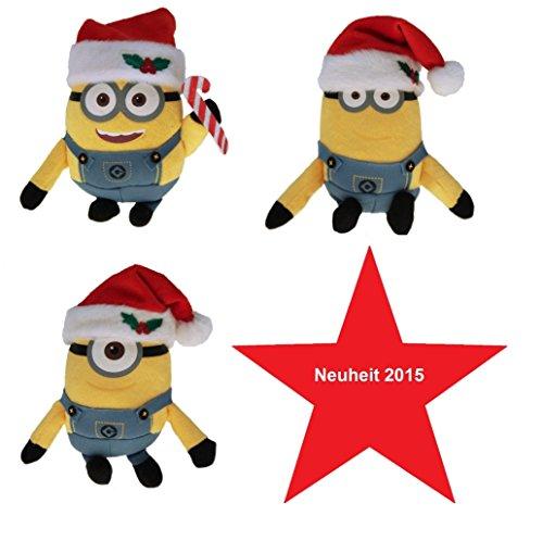 3 Stück Minion Plüschfigur Schlüsselanhänger mit Nikolaus / Weihnachtsmann Mütze. Größe 12-16 cm !!! NEUHEIT zu Weihnachten !!! Minion, Minions, Ich einfach ()