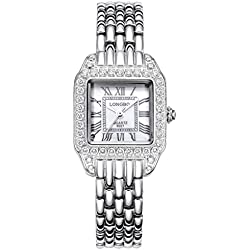 LONGBO Womens Fashion Roman Numral Crystal Rhinestone Accented Square Case Lady Dress Watch Silver Bracelet Wrist Watches Girl Analog Quartz Full Stainless Steel Bangle Watches