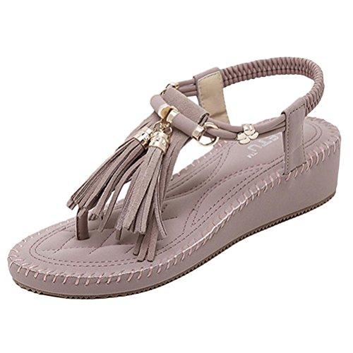 Vogstyle Donne Nuove Sandali Scarpe Stile Bohemian Pantofole A Tacco Piatto Stile-10 Viola Chiaro