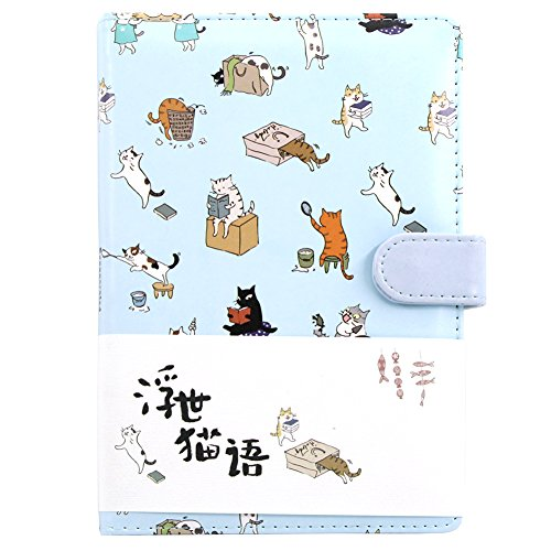 Cuaderno de colores degradados con bonitos dibujos animados de gato, ara uso diario o como cuaderno de viaje, libro rayado, de papel, 260 páginas perfecto para escribir y como regalo, color azul 19*13.4*2cm