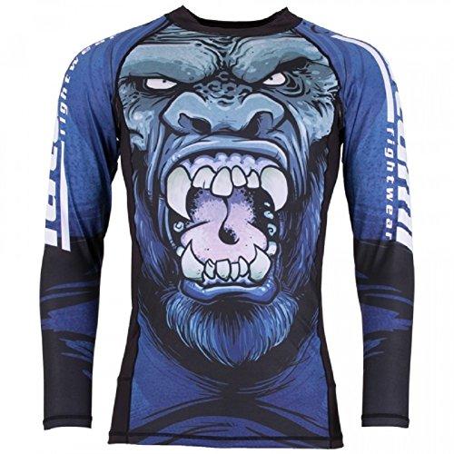 Tatami Rashguard Gorilla Smash-Función Camiseta, BJJ MMA Grappling Compresión Camiseta, Color Azul, tamaño Small