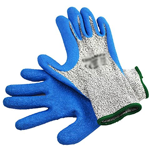 JZDCSCDNS Gants de Jardin Anti-Rayures Anti-ponction Antidérapant Anti-déchirure Protection des Mains Plantation Réparation Automobile Latex résistant à l'usure Fil Anti-Coupure Gris, L