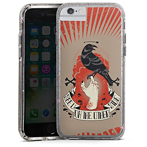 Apple iPhone 6s Plus Bumper Hülle Bumper Case Glitzer Hülle Raven Rabe Gothic Bumper Case Glitzer rose gold