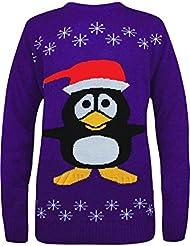 Mix lot neue Unisex Weihnachten Neuheit Jumper Penguin königsblau lila Weihnachten niedlichen Pullover Größe 36-42