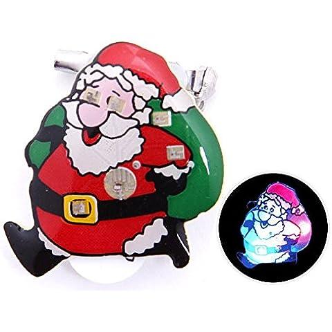 Spilletta LED con luce intermittente per natale (b-141) spilla pin badge festa natalizia babbo natale accessorio effetto luminoso batterie incluse pupazzo di neve albero campanello regalo renna - Pupazzo Pin Spilla