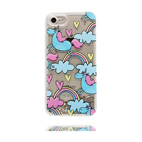 iPhone 7 Plus Custodia, Glitter silicone Bling Nuoto divertente design liquido Case iPhone 7 Plus copertura ( 5.5 pollice ) Cover Shell Graffi Resistenti Cartoon unicorno e ring supporto COLOR 3