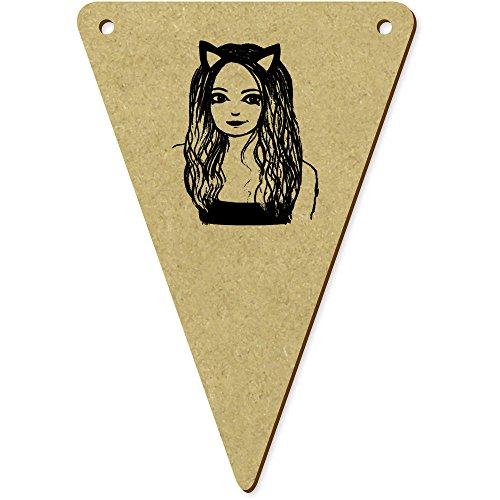 Kostüm Katze Bunting - Azeeda 5 x 100mm 'Mädchen mit Katze Kostüm' Wimpel / Banner aus Holz (BN00015210)