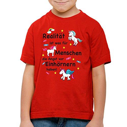 style3 Realität ist was für Menschen die Angst vor Einhörnern haben Kinder T-Shirt Unicorn Einhorn, Farbe:Rot;Größe:116 (Mädchen Realität T-shirt)