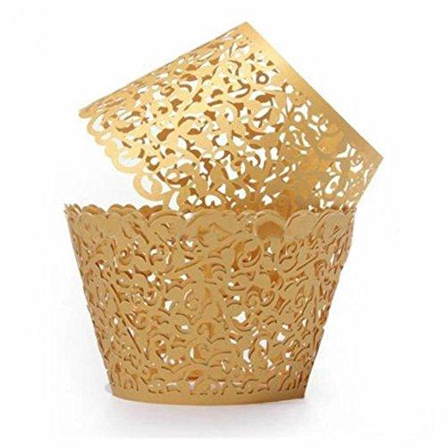GOOTRADES Filigran Vine Cupcake Wrapper Wraps Halter Fällen Hochzeit Dekorationen (Packung mit 12) (Gold) - Wrap-halter Papier