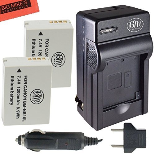 2 Pack Of NB-10L Batteries And Rapid AC DC Charger for Canon PowerShot SX40 HS SX40HS SX50HS G15 G16 G1X Digital Camera + More!!