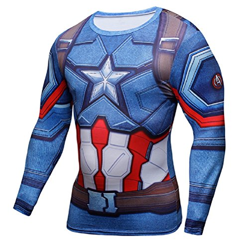 Samanthajane Clothing LTD born2ridetm Compression Shirt kurzarm, Innenraum, Kühltasche, ideal für Fitness oder Radfahren, Superhelden Blau New Captain America Langarm X-Large (America T-shirt T-shirt Captain)