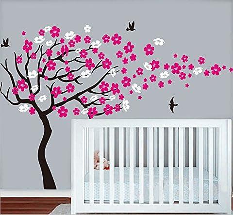 BDECOLL Arbre énorme de fleurs de cerisier/Souffrant dans le mur du vent Stickers/Arbre de pépinière/Fleurs Papillon Art/Décor de mur pour bébé