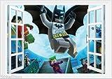 LEGO Batman 3D Fenster Art Wand Aufkleber Aufkleber Kid 's Room Größe A2