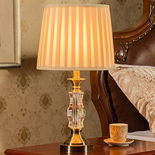 Luxus Kristall Schlafzimmer Tischlampe Hardware Base mit Kristall Stoff Schreibtisch Licht - Antike Messing Tisch Base