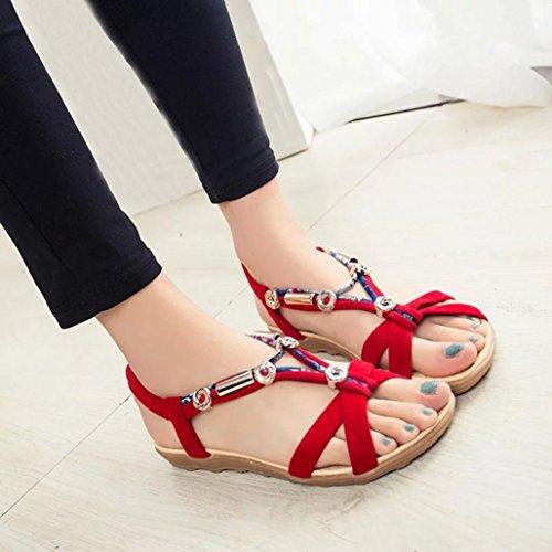LuckyGirls Sandales D'été pour Femmes, Peep-Toe Romaine Sandales Mode Chaussures Plates pour Dames (41 EU, Rouge)