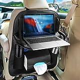 In pelle PU auto Backseat organizer con porta iPad Tablet, Hunda pieghevole e impermeabile per seggiolino auto Paraschiena copertura universale per bambini, stoccaggio bottiglie, fazzoletti, giocattoli, accessori da viaggio (1pezzi, nero)