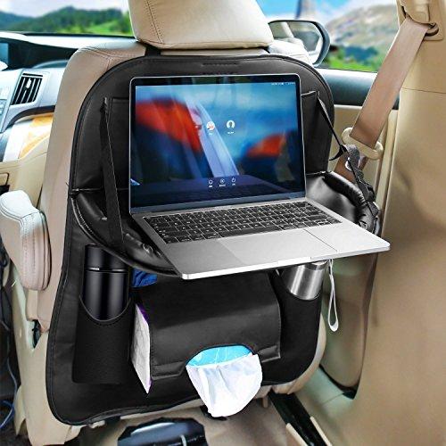 Auto Organizer Pu Leder mit iPad-Tablet-Halter,HUNDA Faltbare und Wasserdichte Autositz Rückenprotektor Cover Universal für Kinder,Speicherflaschen,Tissue Box,Spielzeug,Reisezubehör