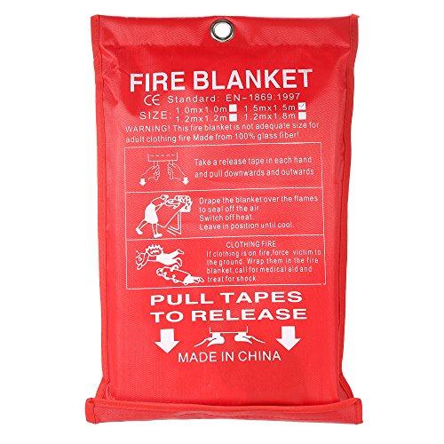 KKmoon Coperta Antincendio in Fibra di Vetro 1.5M * 1.5M per Scudo Antincendio di Emergenza Antincendio