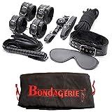 BONDAGERIE Kit in ecopelle di 8 pezzi, versione Starter, colore Nero, sacchetto in raso in omaggio