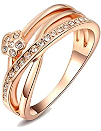 Yellow Leaf Shimmering 18k Gold Plated Party Wear Ring Festive Ring For Women Girls Gift YKR-129