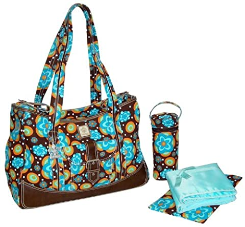 Kalencom Fashion Diaper Bag, Changing Bag, Nappy Bag, Mommy Bag, Nylon Bag, Weekender Bag (Flower Power Blue)