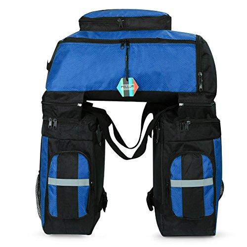 Pellor 3 in 1 Multifunction 70L Reißfest Schockresistent Pannier Taschen Fahrradträger Wasserdichte Fahrrad-Hecktasche mit Regen-Abdeckung Blau+Schwarz
