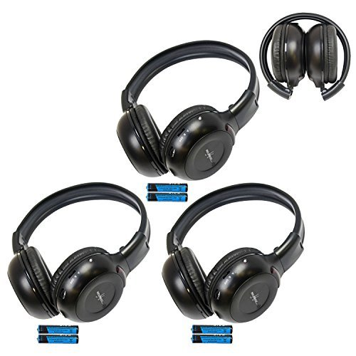 Three Pack of Two Channel Folding Adjustable Universal Rear Entertainment System Infrared Headphones With Three Additional 48 3.5mm Auxiliary Cords Wireless IR DVD Player Head Phones for in Car TV Video Audio and Listening With Superior Sound Quality