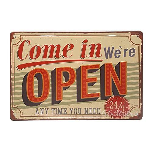 Come in we are open, Retro geprägt Metall blechschild, Wand Deko Schild, 20cm x (Scrubs Superhelden)