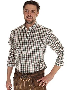 Almsach Herren Hemd langarm Trachtenhemd kariert Hemd Tracht zum krempeln
