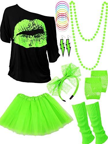 Blulu 80 Jahre Kostüm Zubehör für Damen Set, T-Shirt Lippenprint Erwachsener Tutu Rock Spitzen Stirnband Neon Ohrringe Halskette Beinlinge Netz Handschuhe Armband (Fluorescent Green, XS)