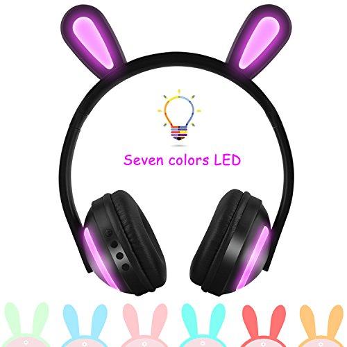 Kinder-Kopfhörer, kabellos, Bunny-Ohr, LED, 7 Blinkende Lichter, über Ohr, kabellos, Bluetooth-Kopfhörer, Geschenk für Kinder, kompatibel für iPhone, iPad, Android Phone, Computer