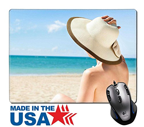 MSD Naturkautschuk Maus Pad/Matte mit genähte Kanten 9,8x 7,9Full Länge der jungen Frau in Bikini Blick auf das Meer genießen beim Entspannen am Strand Stuhl Bild-ID 27241286 -