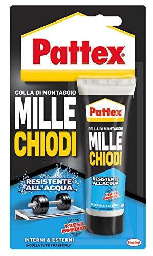 Pattex Millechiodi Resistente all'acqua, adesivo extra forte per montaggi esterni, adesivo resistente per legno, ceramica, metallo, con presa immediata, 1x100g blister