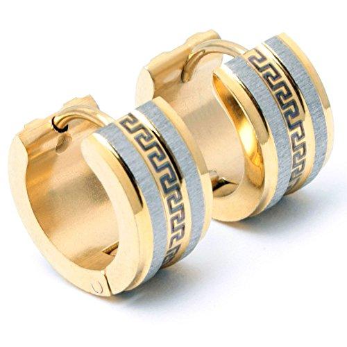 Edelstahl Herren Ohrringe Klapp-Creolen silber gold vergoldet poliert gebürstet Mäander Muster 13mm Ø Männerschmuck Männergeschenk (Gold)